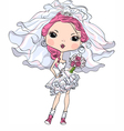 Hipster girl bride in her short wedding dress vector image vector image