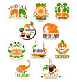 indian food restaurant icons emblems set vector image