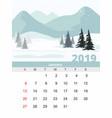 january calendar 2019 mountain winter landscape vector image