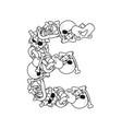 letter e skeleton bones font anatomy of an vector image vector image