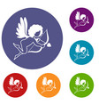 love cupid icons set vector image vector image