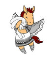 lovely horse with wings in beautiful clothes with vector image