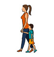 mom and son walking people character vector image