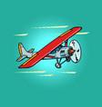 passenger small propeller plane retro vector image