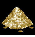Pile of gold coins isolated on black background vector image