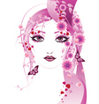 Pink floral girl2 vector image