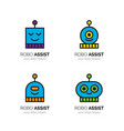 robots funny mascots logos cartoon robotic avatar vector image