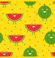 seamless pattern with funny happy watermelon vector image vector image