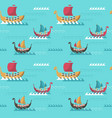 seamless pattern with viking age longships vector image vector image