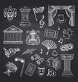 set doodle theatre elements on black vector image vector image