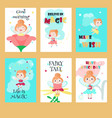 set of cards with cute little fairies vector image vector image