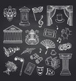 set of doodle theatre elements on black vector image vector image