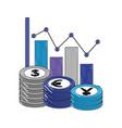 statistics chart currency money coins dollar yen vector image