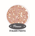 sticker with hand drawn pasta penne vector image vector image