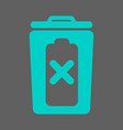 trash bin battery and prohibition sign vector image vector image