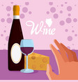 wine bottle with cheese vector image vector image