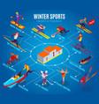 winter sports isometric flowchart vector image vector image