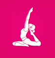 woman practicing yoga yoga action graphic vector image vector image