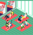 fitness trainers isometric background vector image