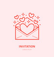 hearts flying from envelope party vector image