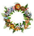 animals forest cartoon together in circle vector image vector image