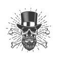 bearded skull in vintage hat crossed bones design vector image vector image