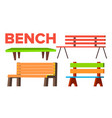 bench set classic wooden park bench for vector image vector image