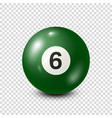 billiardgreen pool ball with number 6snooker vector image vector image