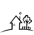 Black and white silhouette of a small house vector image