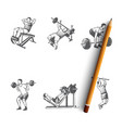 body building - man making exercises vector image