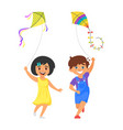 boy and girl with kites vector image vector image