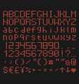 brick font alphabet retro game typeface vector image