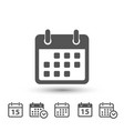 calendar icons on white background vector image vector image