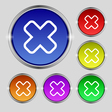 Cancel icon sign Round symbol on bright colourful vector image vector image