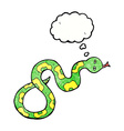 cartoon snake with thought bubble vector image vector image