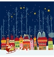 Christmas cartoon background with city vector image vector image