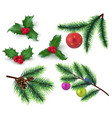 christmas decoration realistic fir tree branches vector image vector image
