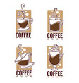 coffee shop logo collection of hot and sweet vector image vector image