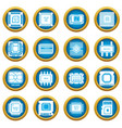 computer chips icons set simple style vector image vector image