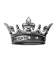 crown hand drawn vector image vector image
