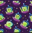 cute funny alien in spaceship seamless pattern vector image