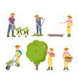 farming man and woman set vector image vector image