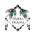 feathers boho square frame vector image vector image
