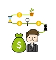 financial business flat line icons vector image