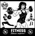 girls with barbell - beautiful fitness girls doing vector image