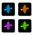 glowing neon kayak and paddle icon isolated on vector image
