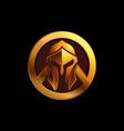 gold spartan helmet logo on black vector image vector image