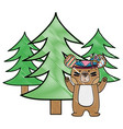 grated ethnic bear animal with pine trees vector image vector image