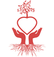 hand holds heart tree vector image vector image
