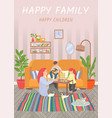 happy family parents and children play at home vector image